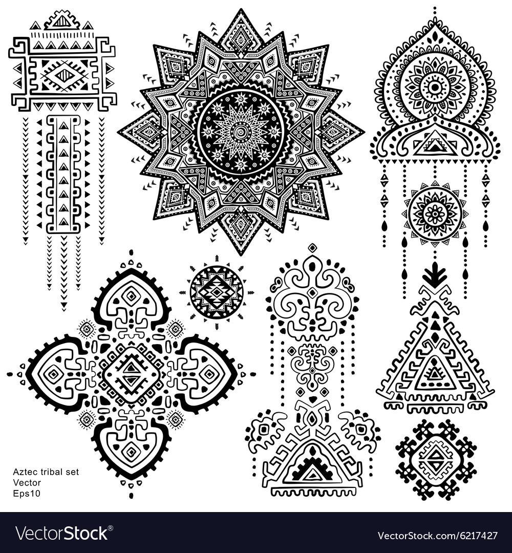 Set of Aztec tribal elements and symbols vector image