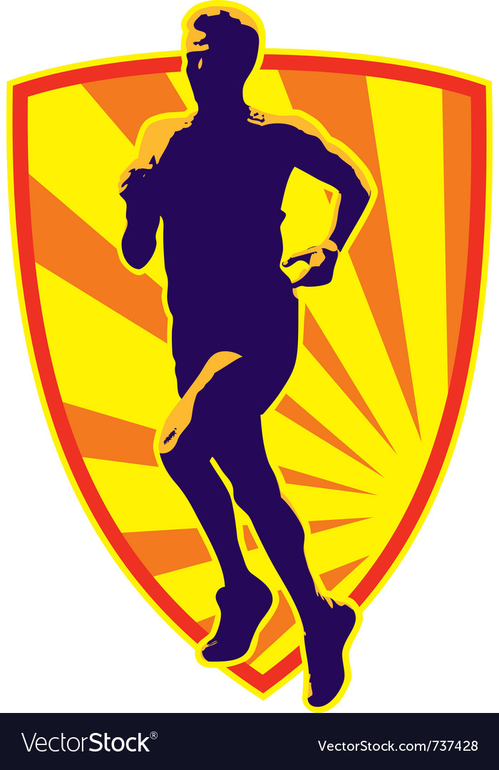 Marathon runner shield vector image