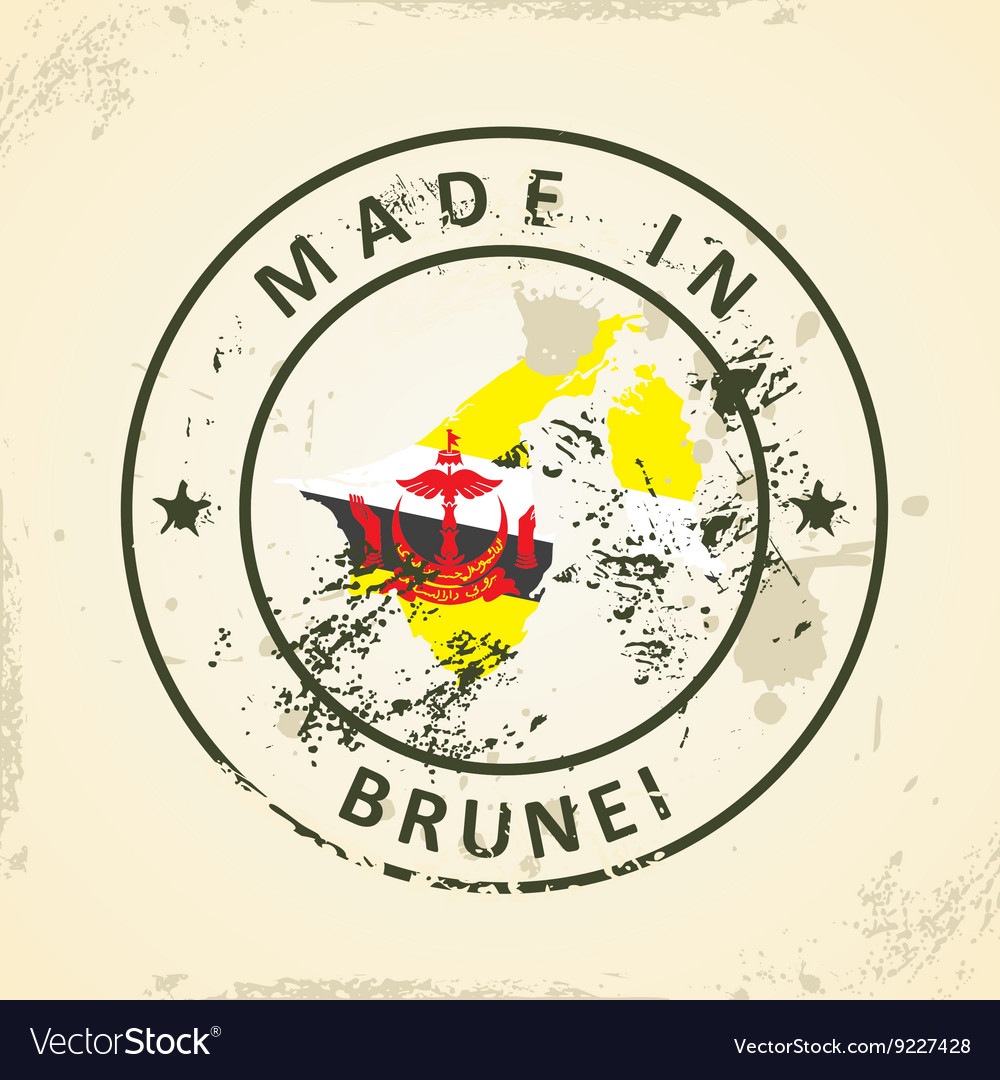 Stamp with map flag of Brunei vector image