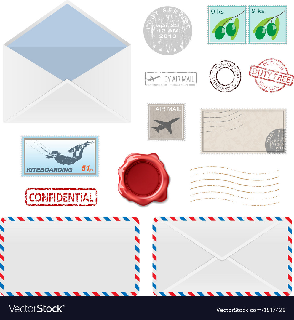 Air mail stam set vector image