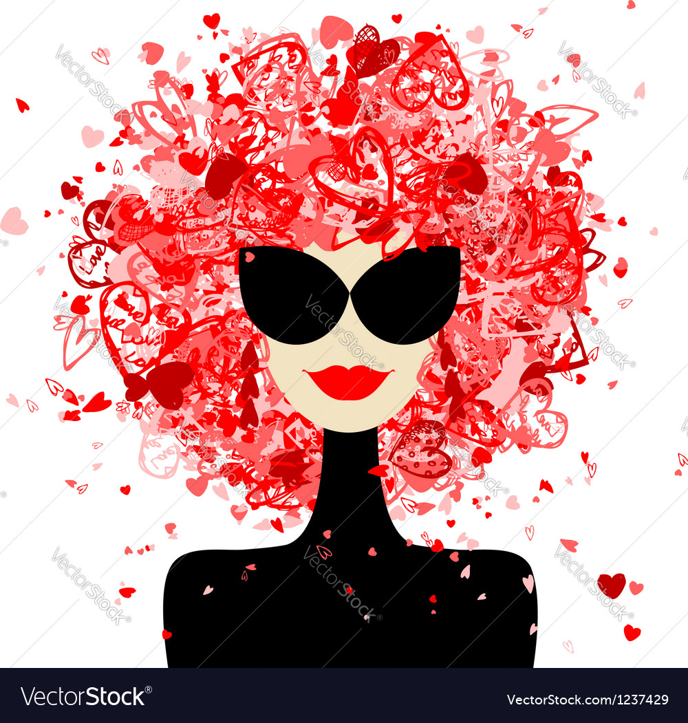 Fashion woman portrait for your design vector image