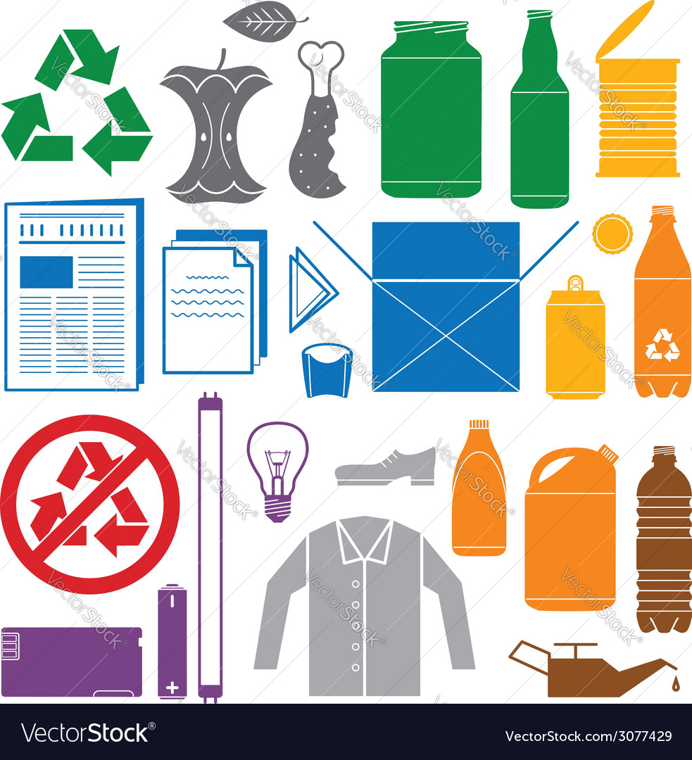 Recycling and various waste color icons vector image