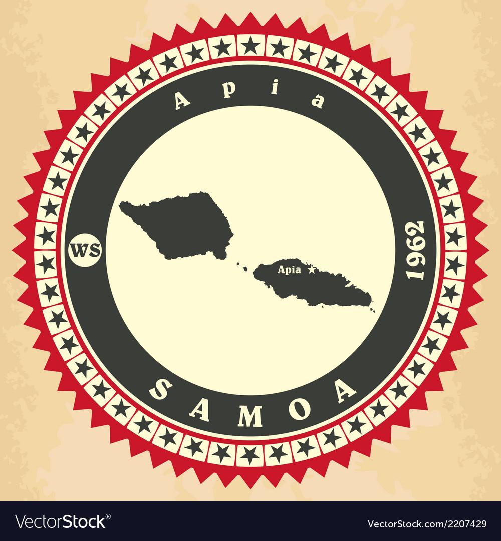 Vintage label-sticker cards of Samoa vector image