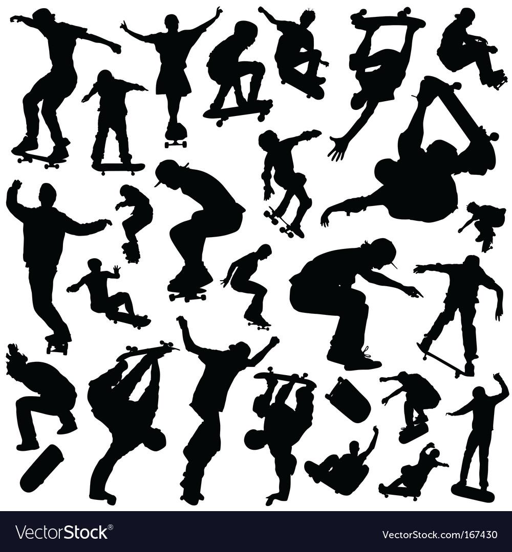 Skateboarding set vector image
