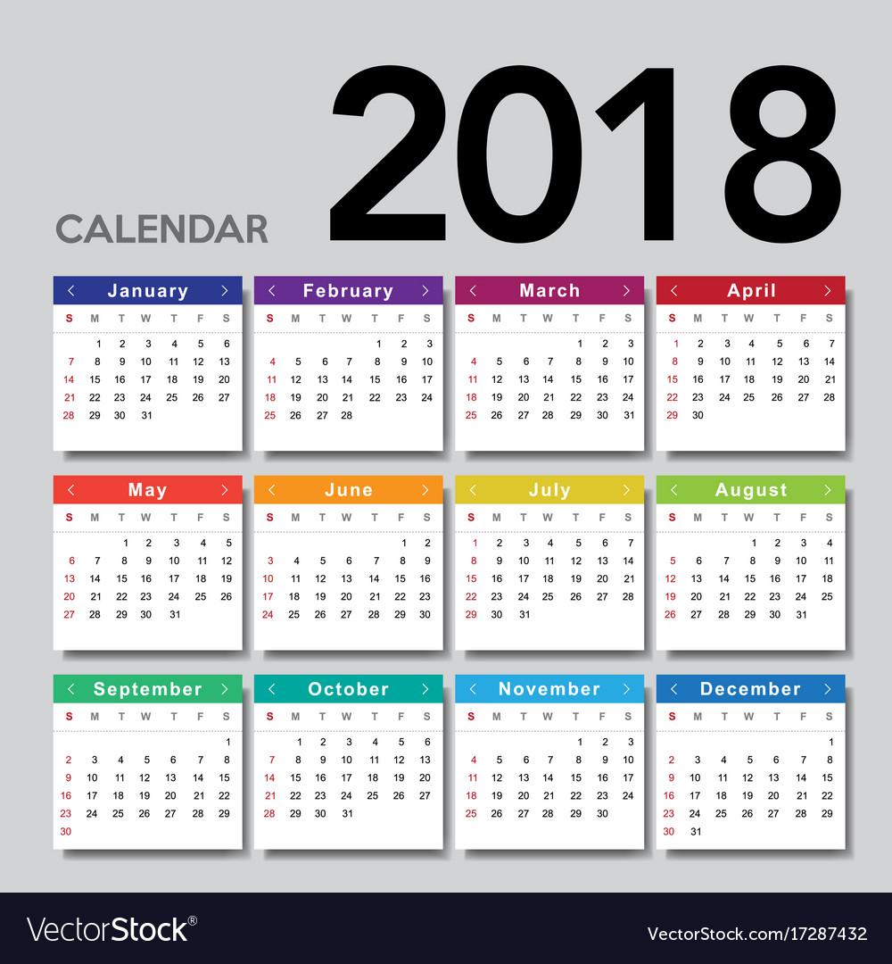 monday through sunday calendar 2018