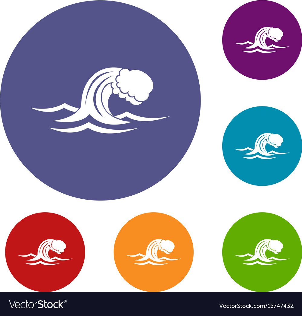Foamy wave icons set vector image