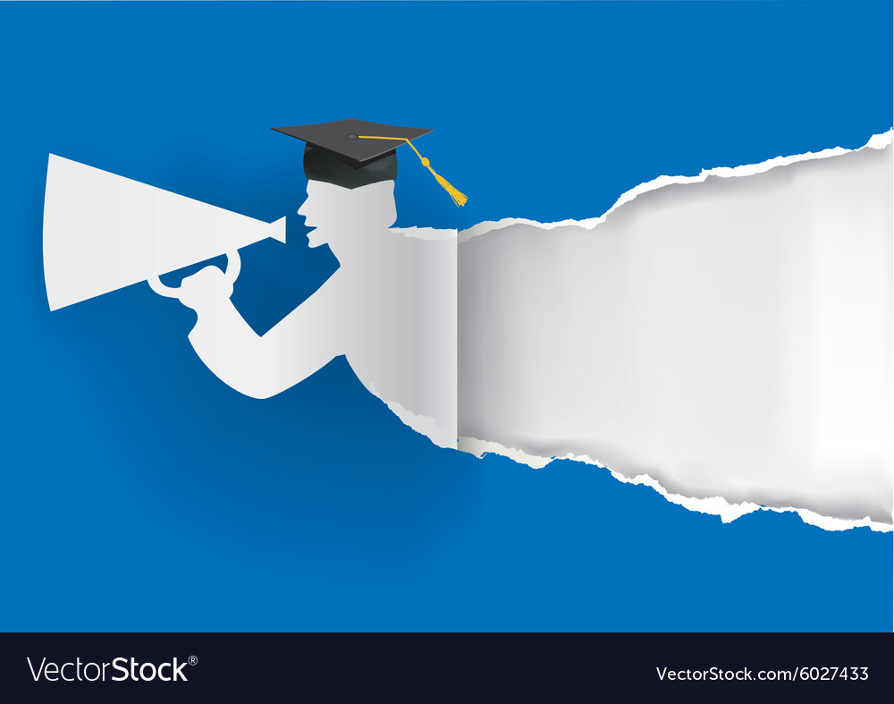 Paper graduate ripping paper vector image