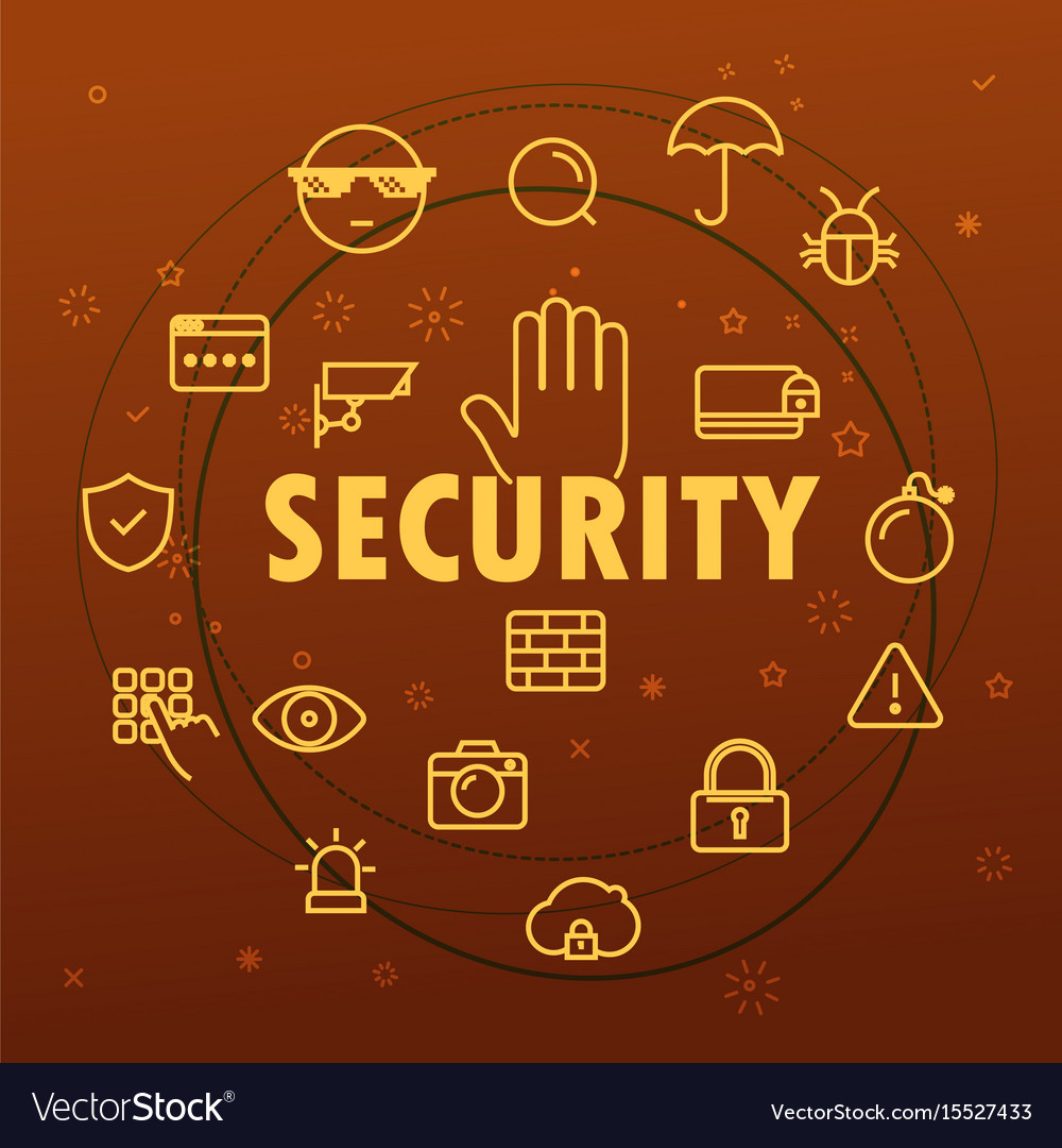 Security concept different thin line icons vector image