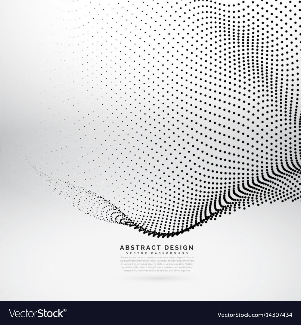Abstract 3d particle wave mesh in cyber vector image