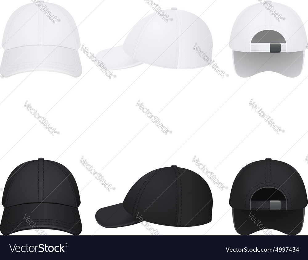 White and black caps vector image