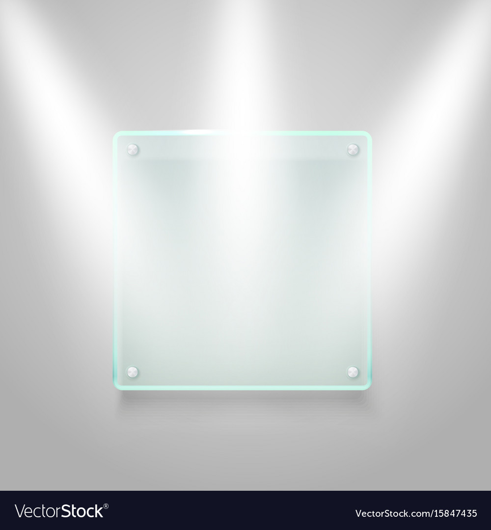 Glass board illuminated on the wall mockup vector image