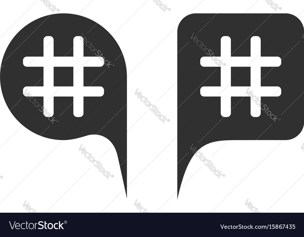 Hashtag in black speech bubbles vector image