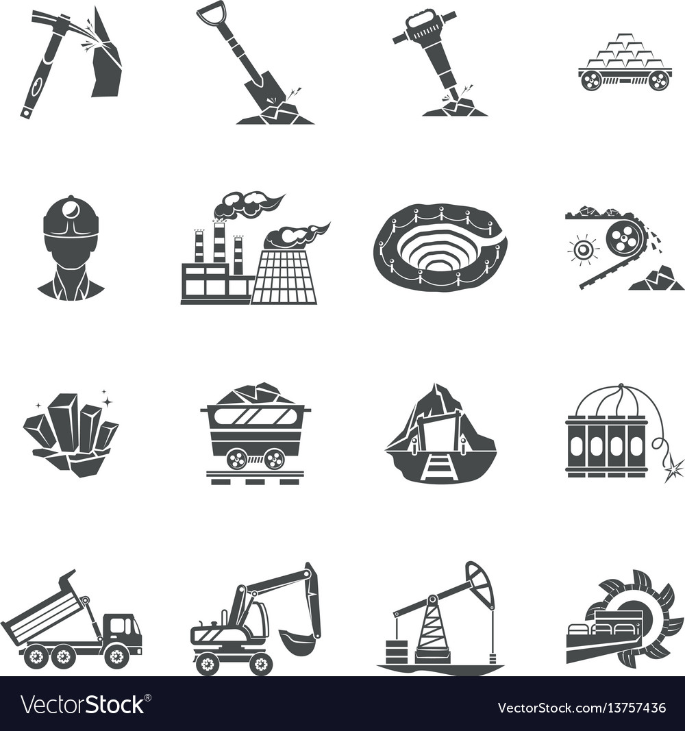 Coal mining equipment black icons set vector image