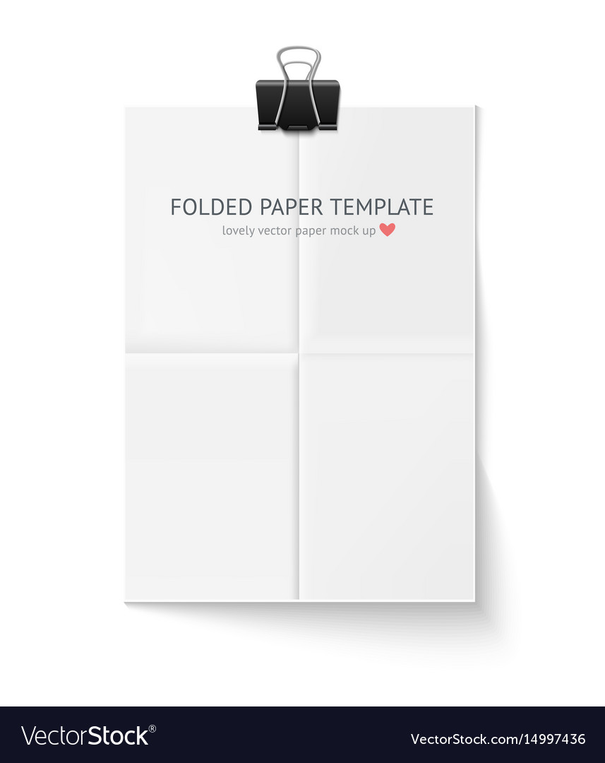 White sheet of paper folded in four hangs with vector image