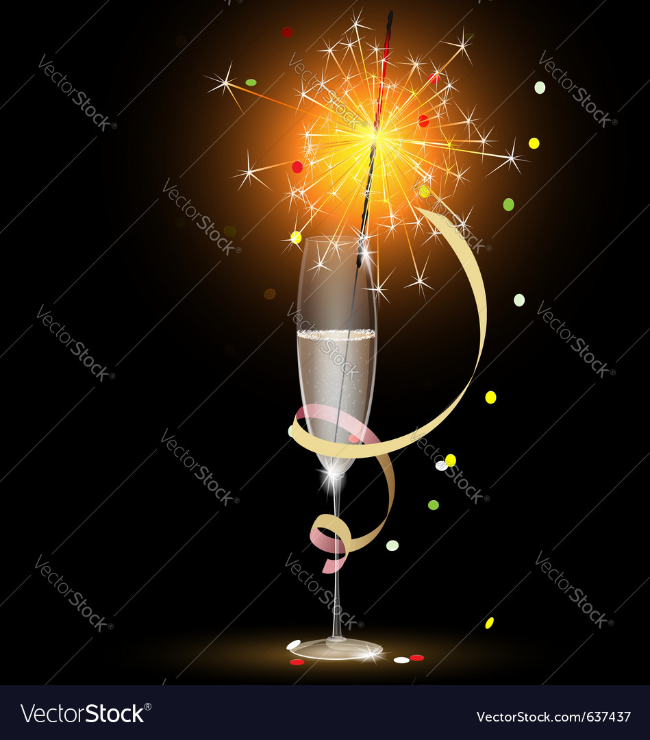 Champagne and sparkler vector image