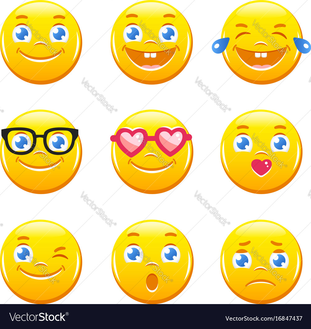 Cute cartoon emoticons emoji icons smiley faces vector image buycottarizona Images