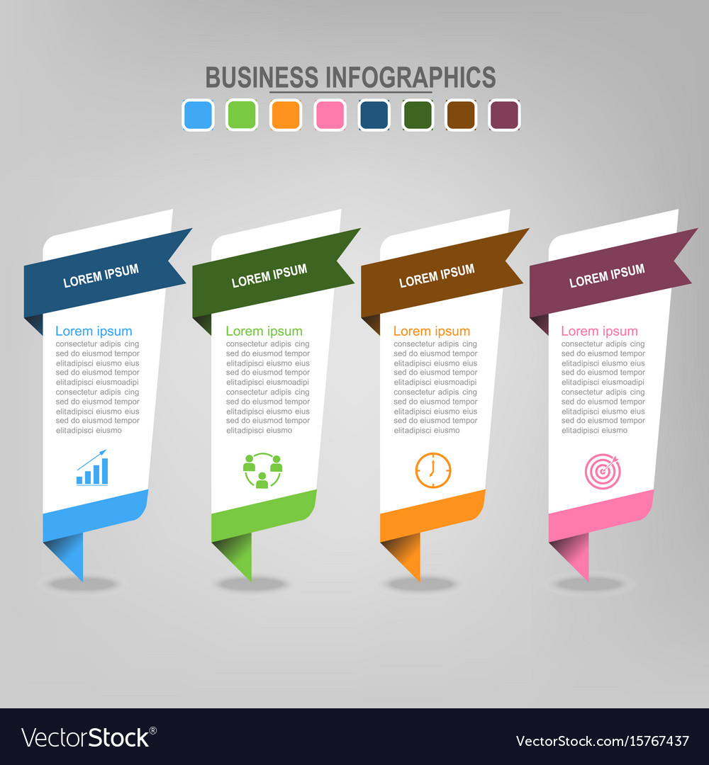 Four banners infographics business concept vector image