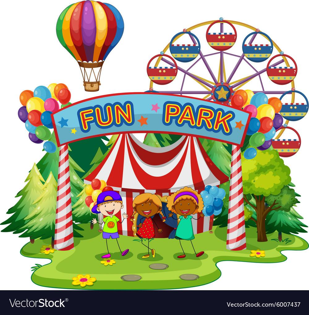 Kids at fun park vector image