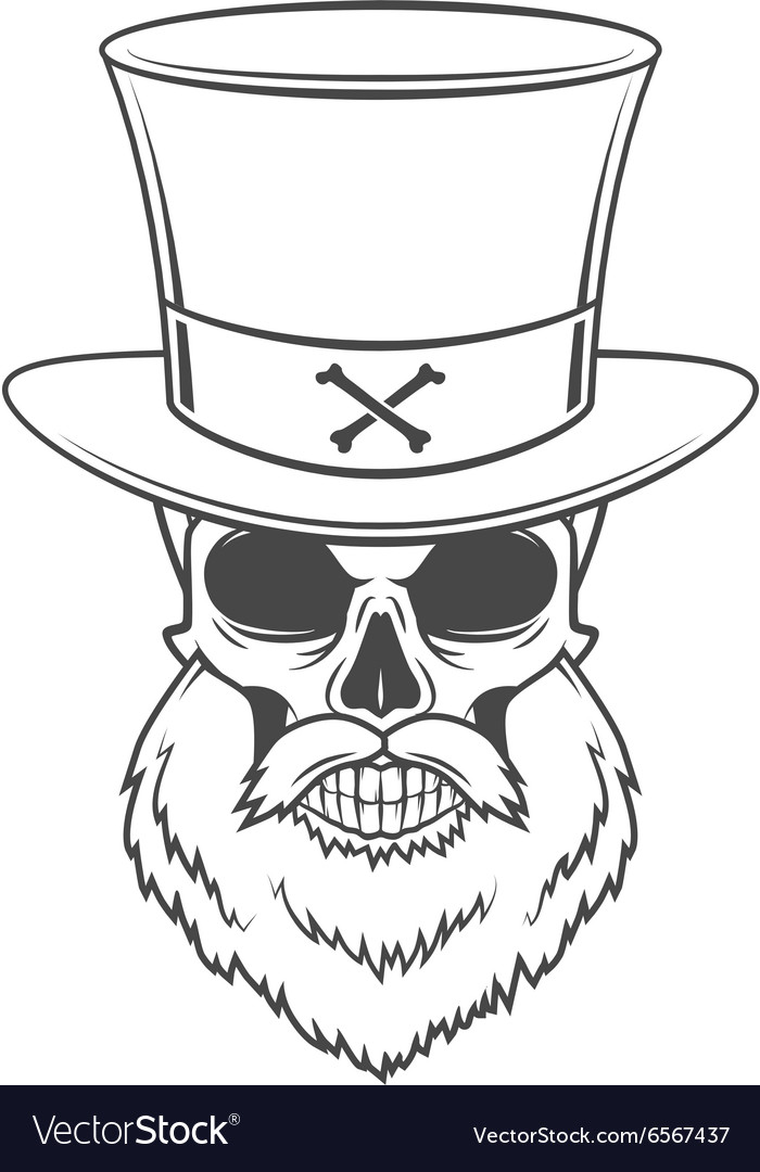 Steampunk Head hunter skull with beard and high vector image