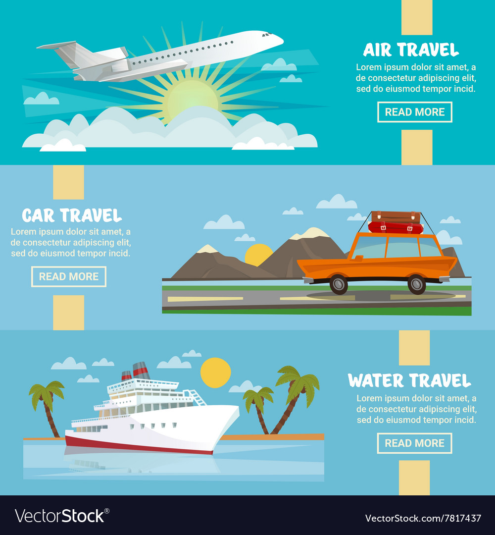 Travel Banners Set with Airplane Car Ship vector image
