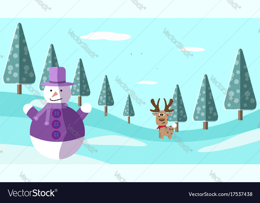 A hand drawing winter scene with deer and snowman vector image