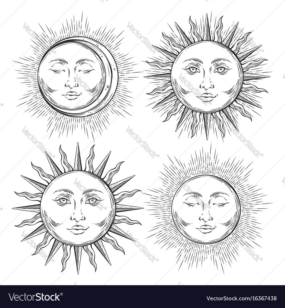 Boho flash tattoo design hand drawn sun set vector image