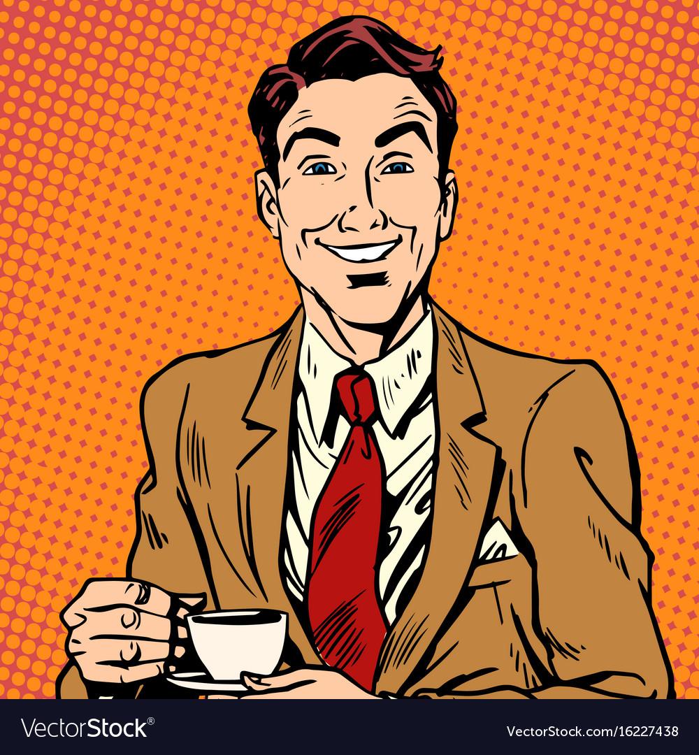 Printavatar portrait of man drinking coffee vector image