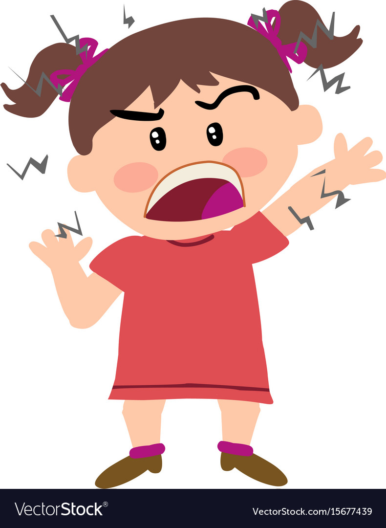 Cartoon character of a angry girl vector image