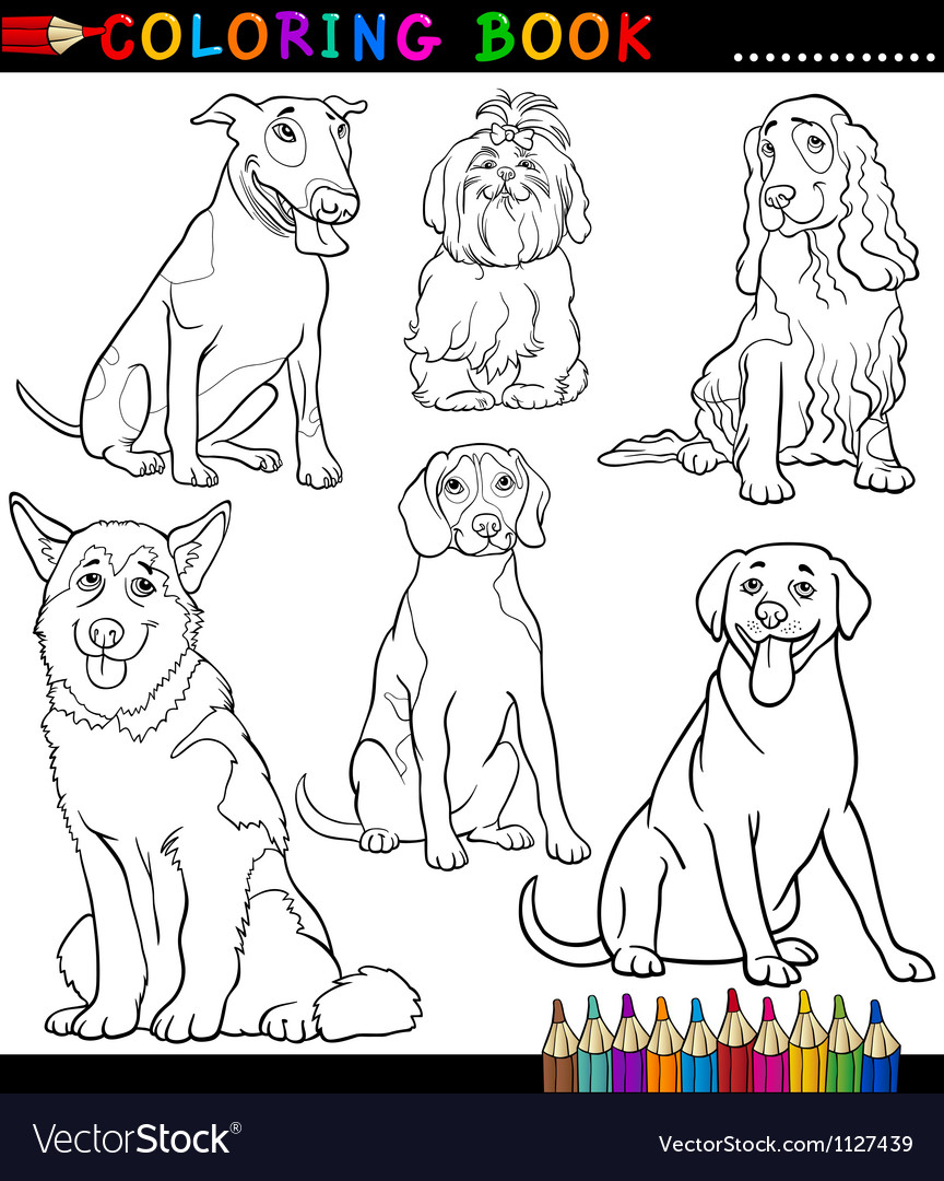 cartoon dogs or puppies coloring page royalty free vector