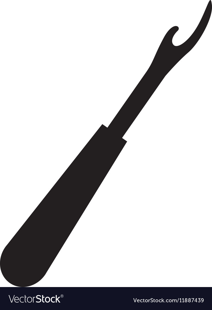 Monochrome silhouette seam ripper tool vector image