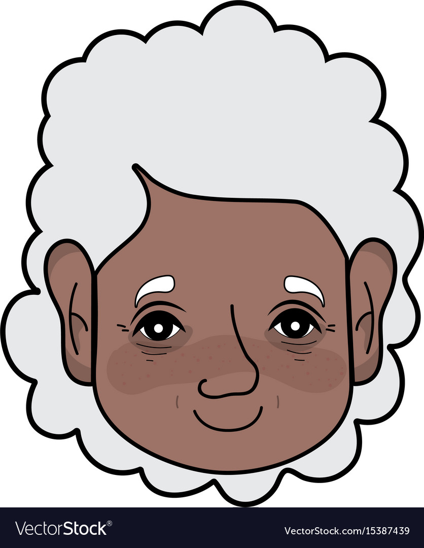 Old woman face with hairstyle and expression vector image
