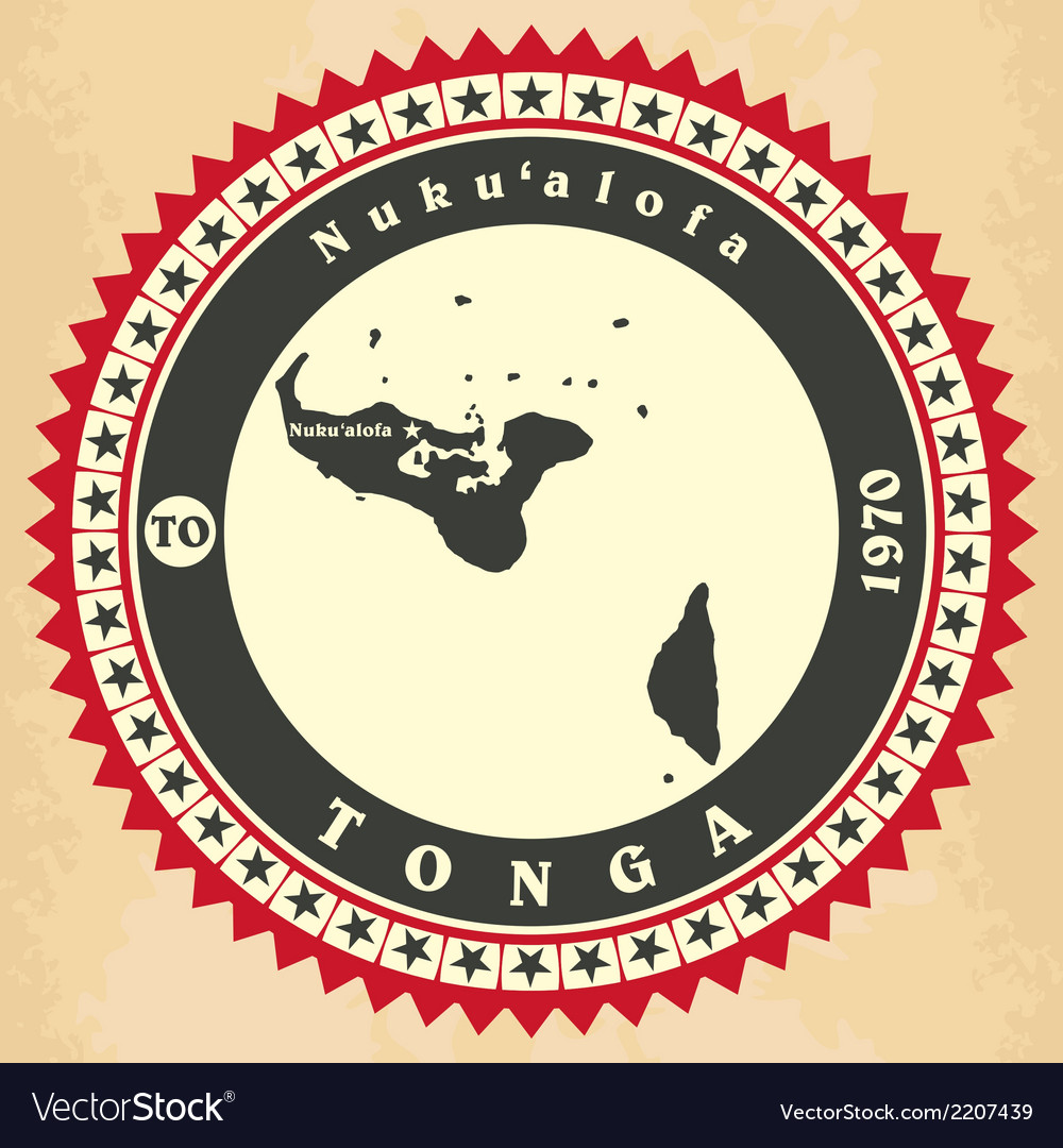 Vintage label-sticker cards of Kingdom of Tonga vector image