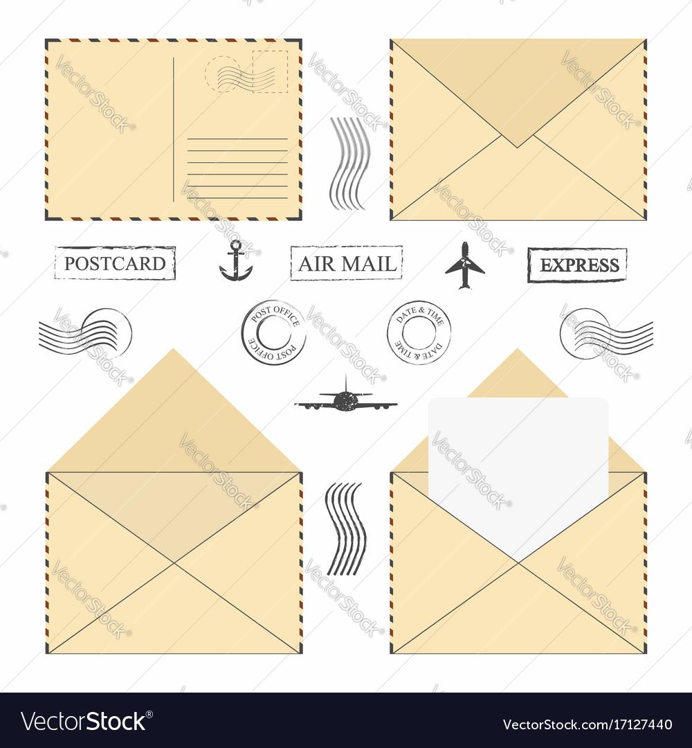 Mail envelope set vintage mail envelopes with vector image