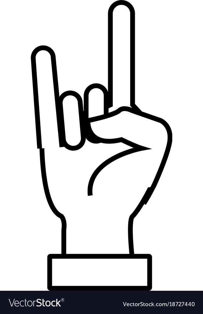 Rock And Roll Hand Symbol Royalty Free Vector Image