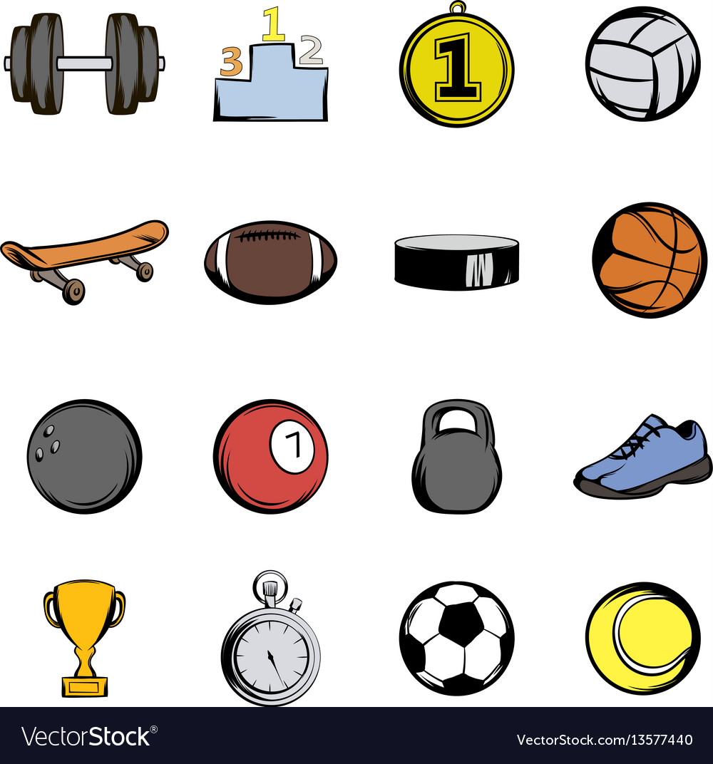 Sports icons set cartoon vector image