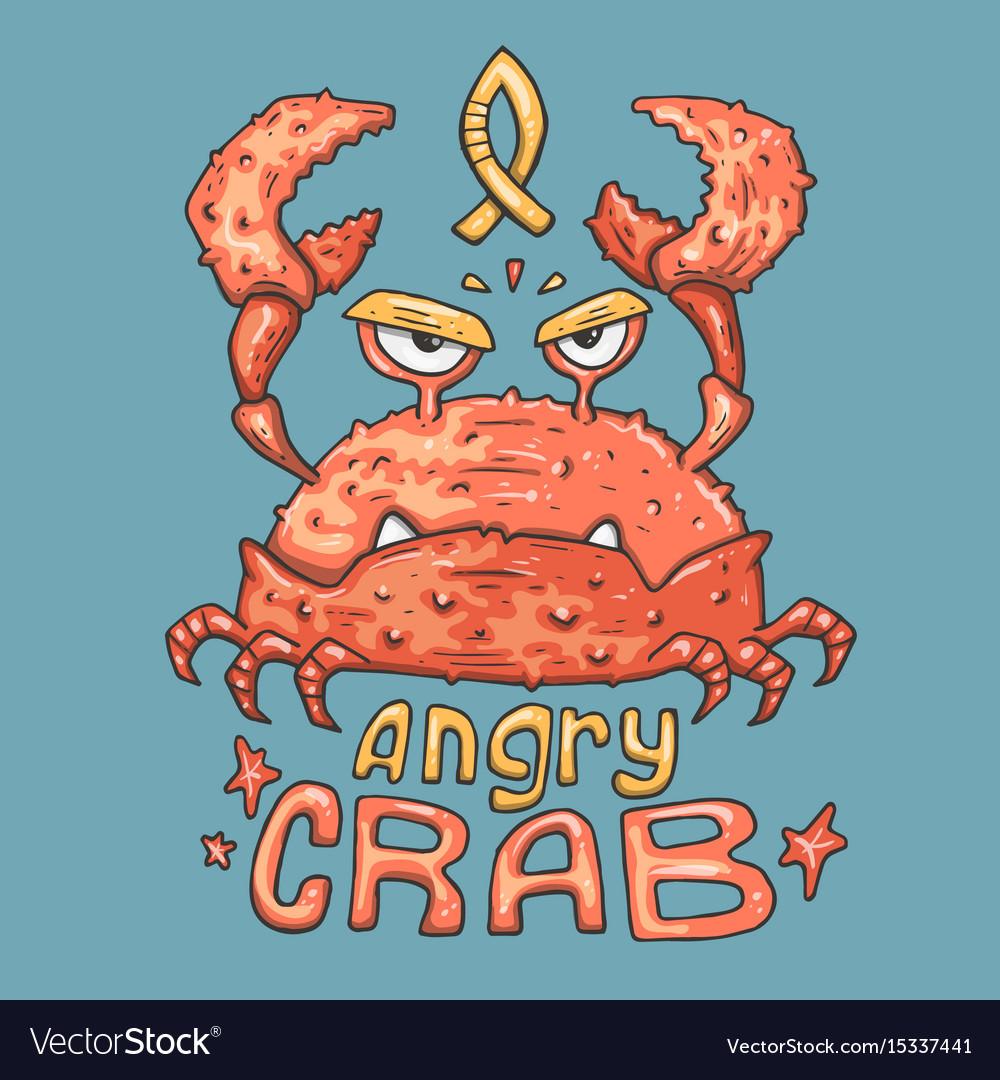 Cartoon angry crab vector image