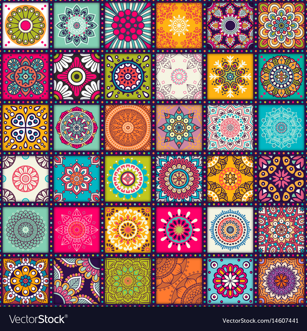 Ethnic floral seamless pattern with mandalas vector image