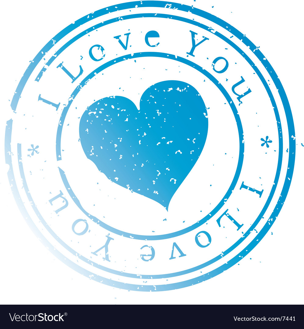 Stamp -i love you- blue vector image