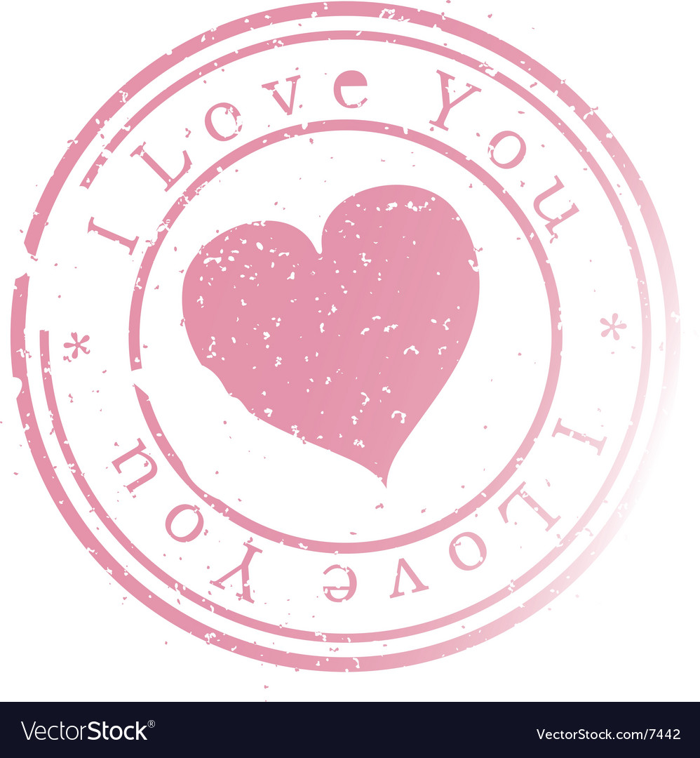 Stamp -i love you Vector Image
