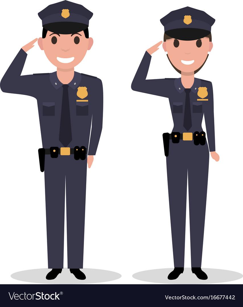 Cartoon policeman and police woman salutes vector image