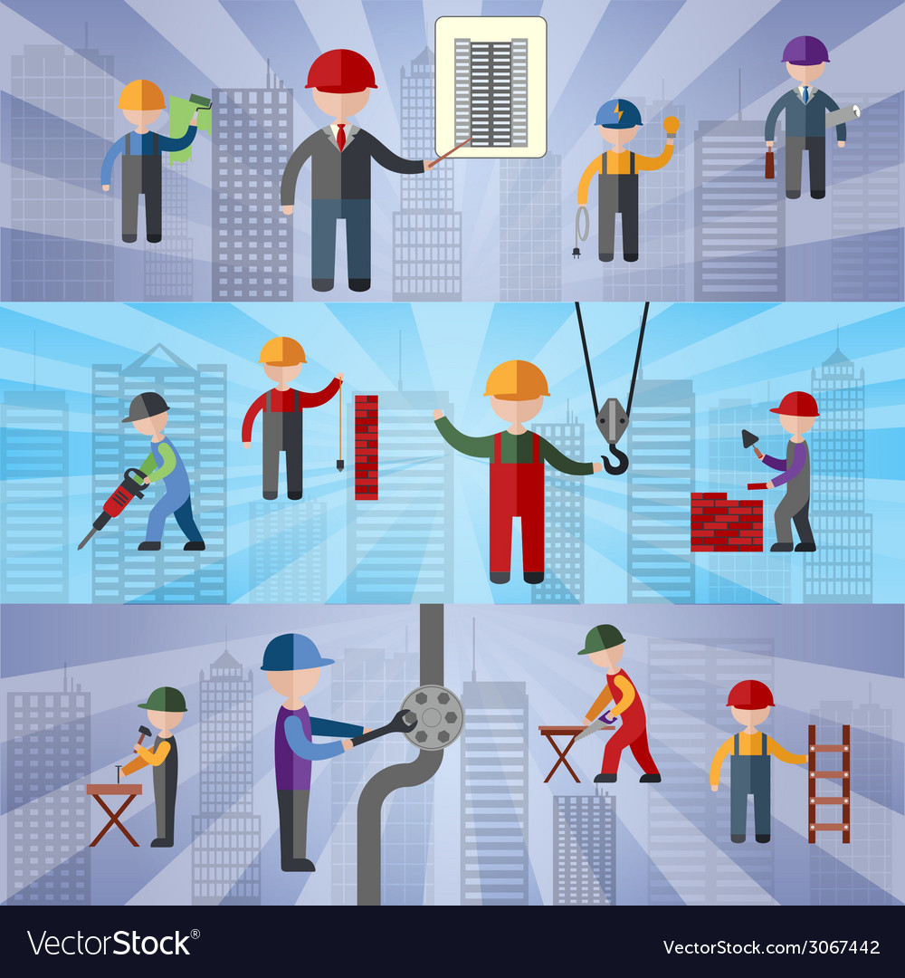 Construction flat banners vector image