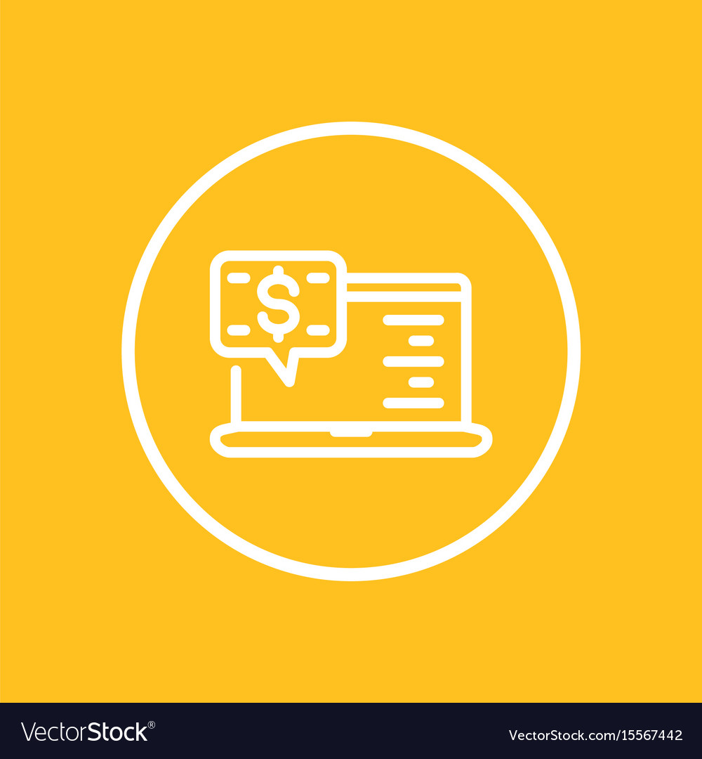 Internet banking line icon in circle vector image
