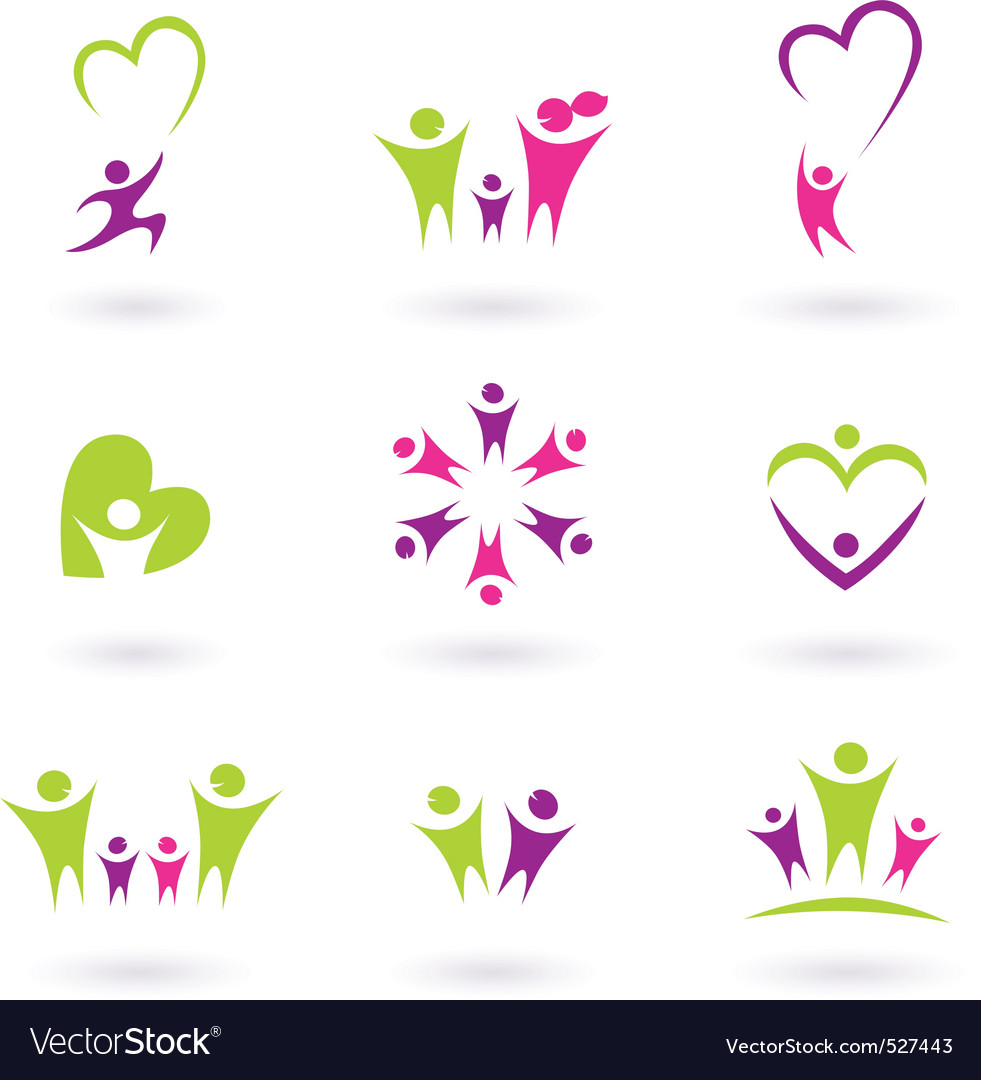 Family and people icons Vector Image