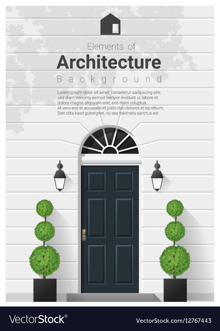 Elements of architecture front door background 16 vector image