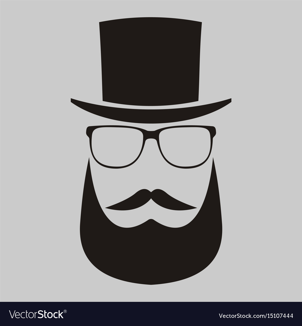 A man in a hat with a mustache glasses and a vector image