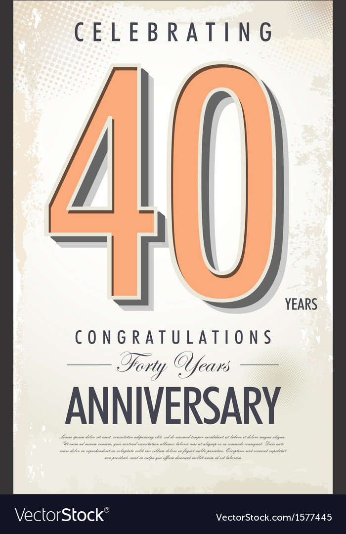 40 years anniversary retro background vector image