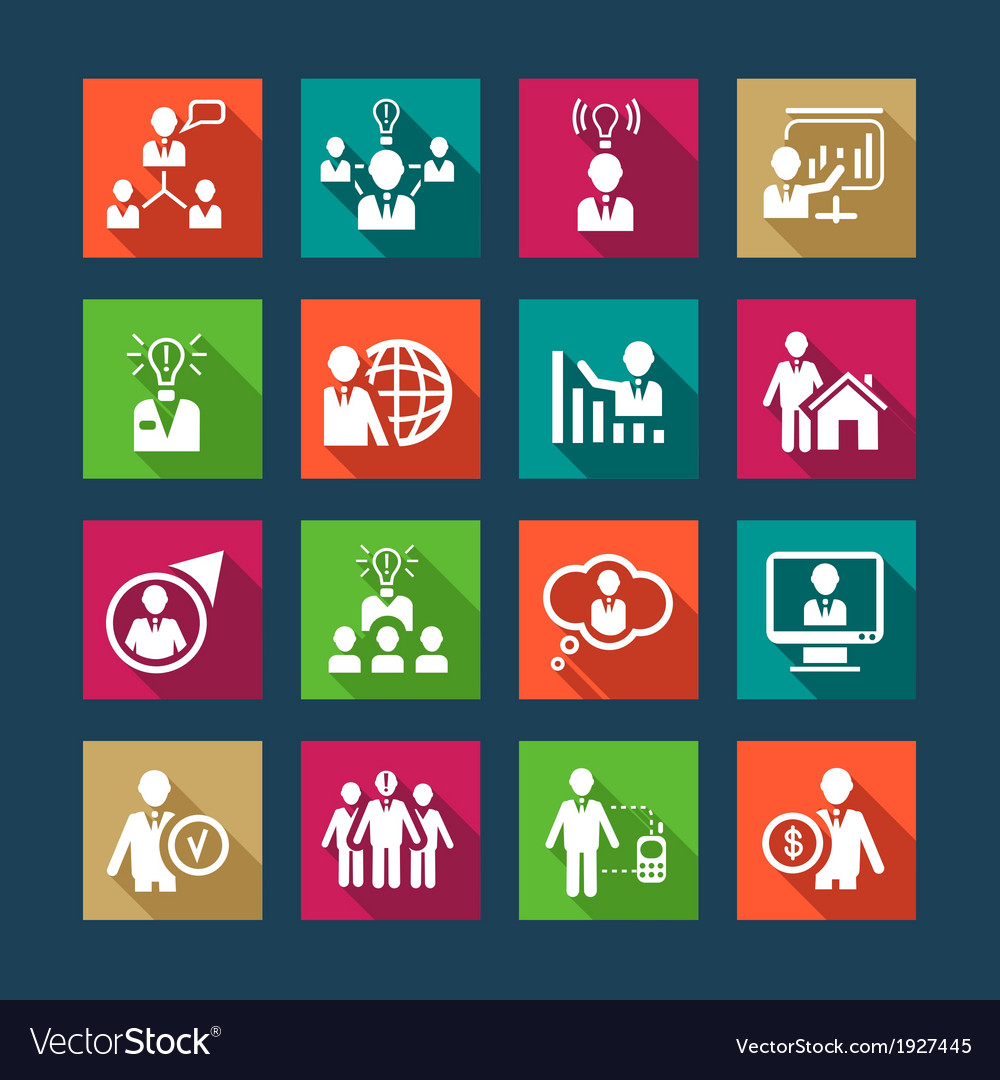 Flat human resources icons vector image