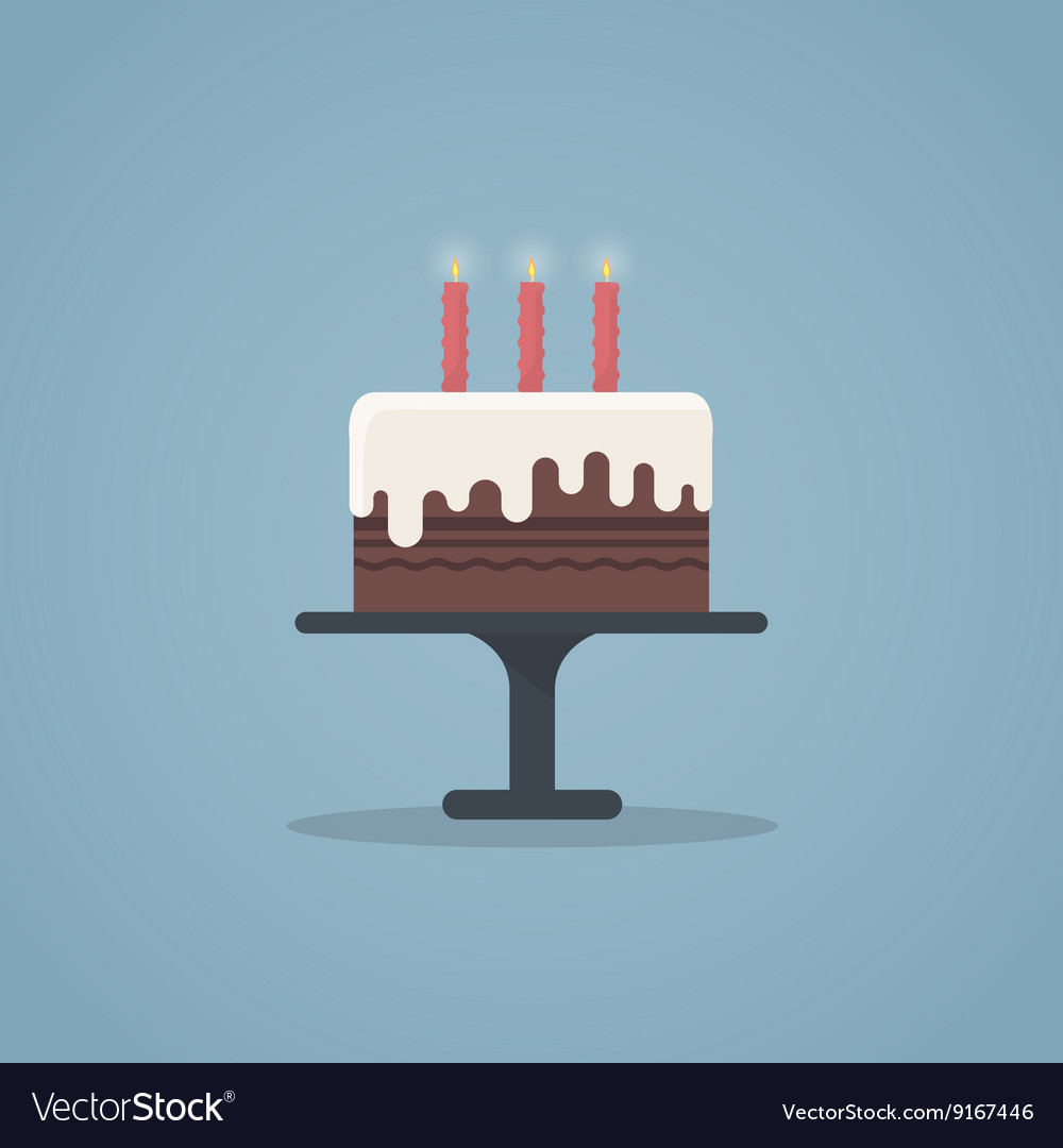 Birthday cake flat vector image