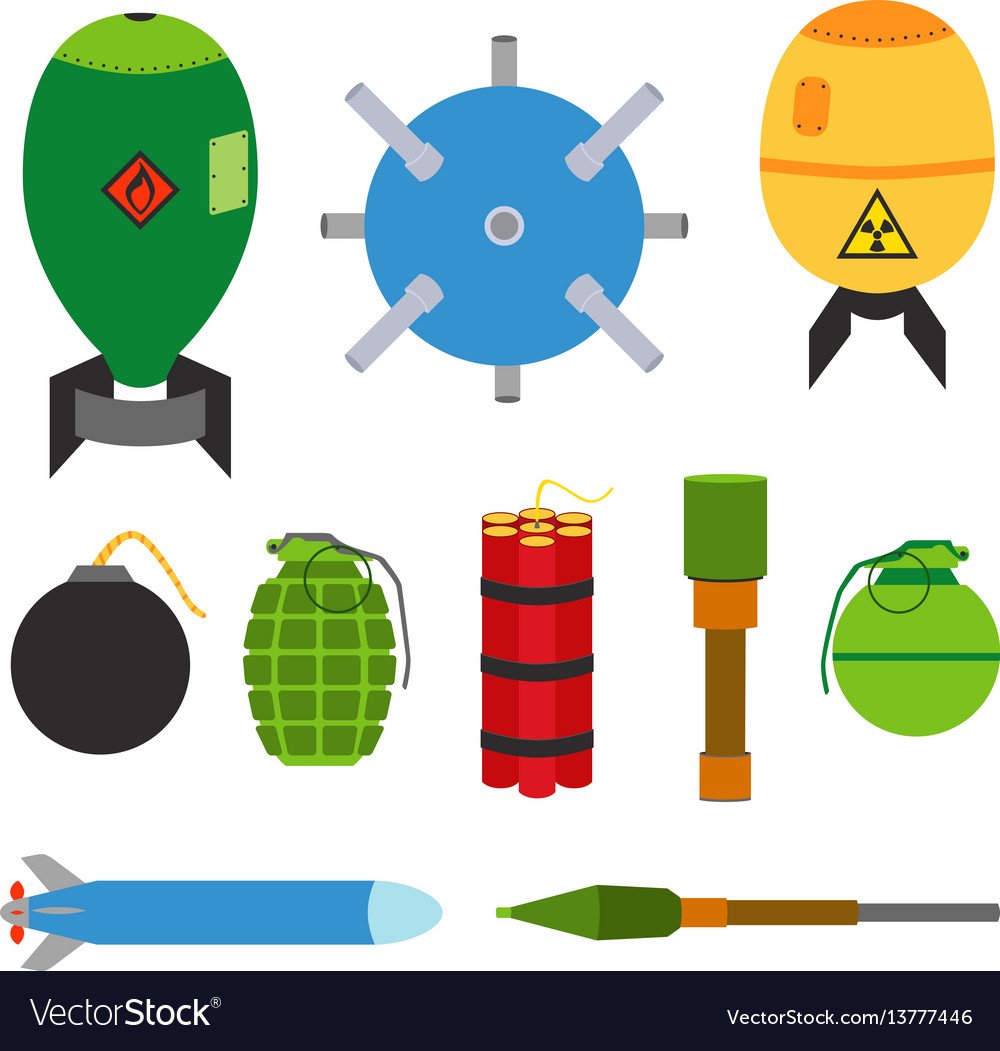 Explosive set of dangerous bombs made in flat vector image