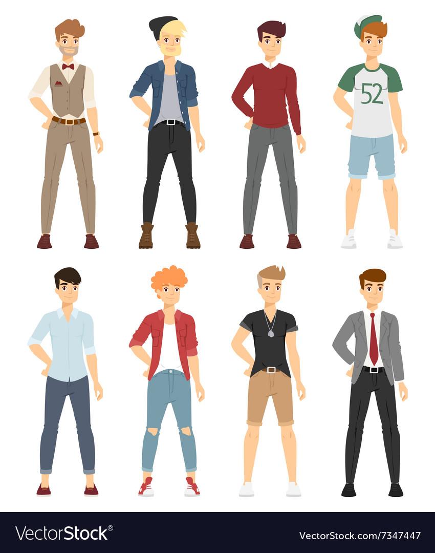 Beautiful cartoon fashion boy models look vector image